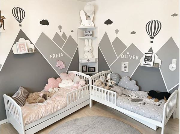 The Boo And The Boy Shared Kids Rooms In 2020 Kids Rooms Shared Kids Rooms Shared Toddler Rooms Unisex Kids Room Toddler bedroom ideas pinterest