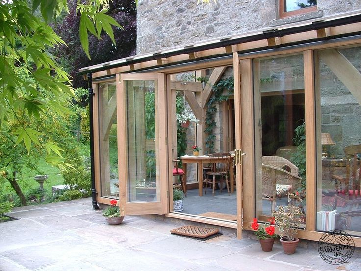 Oak Timber French Doors in Oak Timber Framed Conservatory