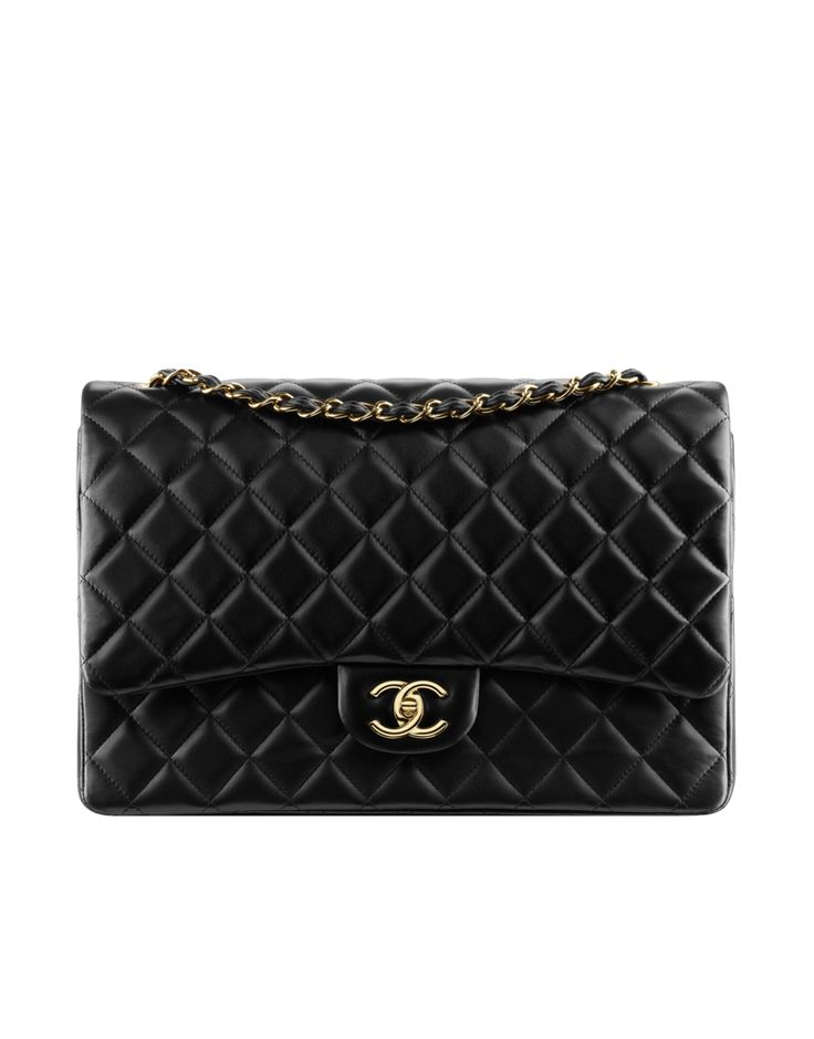 CHANEL | ICONIC CLASSIC FLAP BAG A58601 Y01295 C3906 LARGE CLASSIC FLAP BAG IN QUILTED LAMBSKIN OR CAVIAR CALFSKIN IN GOLD METAL 23 X 33 X 10 CM