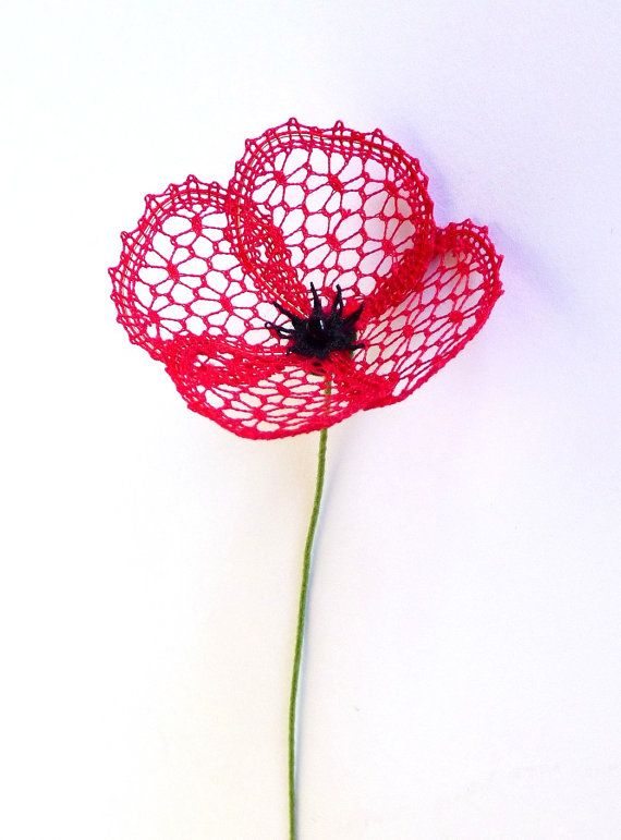 Little Poppy - a bobbin lace PDF pattern. Instant download. 3D lace flower