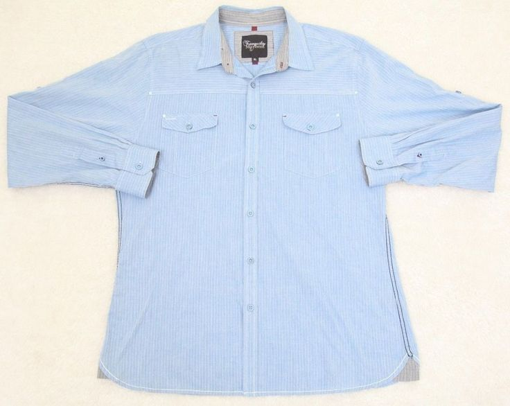 Blue Dress Shirt Extra Large XL Tranquility Mayhem Cotton Polyester Striped Mens #Tranquility #ButtonFront