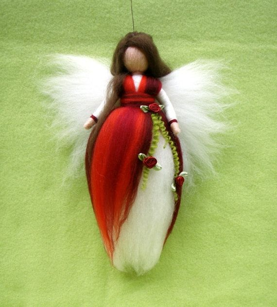 RED ROSES Fairy Needle Felted Wool  Doll Angel by Holichsmir