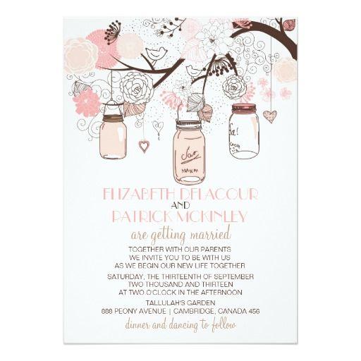 pink mason jars and love birds wedding invitation - Love Birds Wedding Invitations