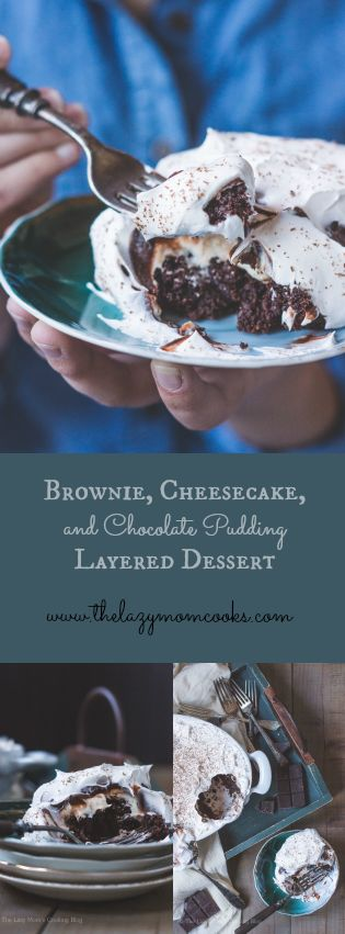 Brownie, Cheesecake, and Chocolate Pudding Layered Dessert