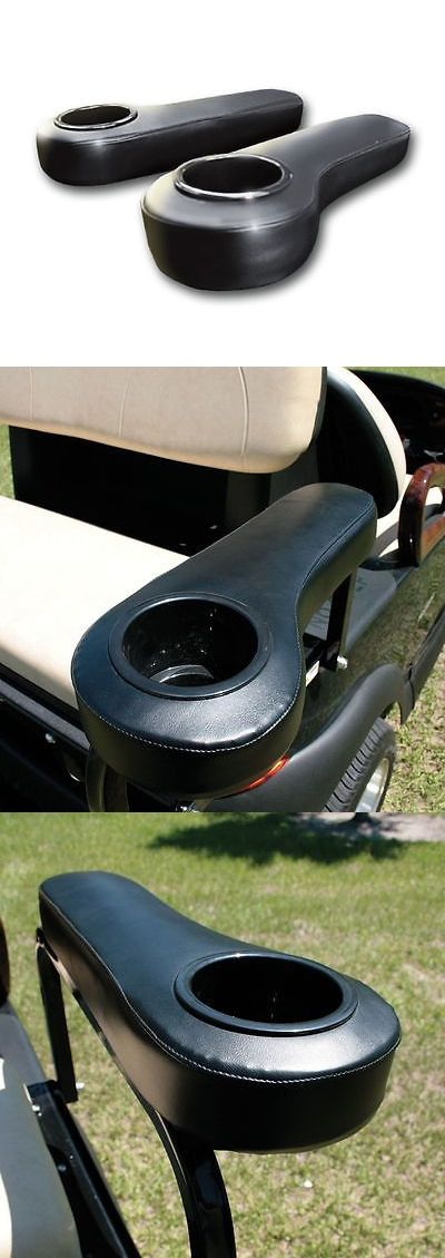 Other Golf Accessories 1514: Ezgo/Club Car/Yamaha Golf Cart Rear Seat Arm Rest Cushion Cup Holder (Black) BUY IT NOW ONLY: $31.99