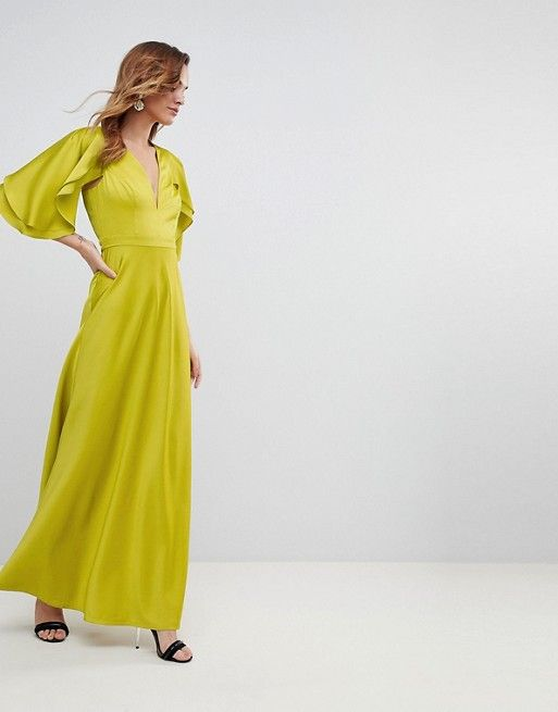 8e9ae2bcbc DESIGN maxi dress in satin with flutter sleeve