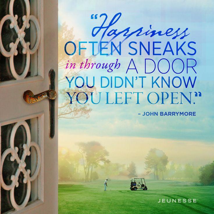 Happiness often sneaks in through a door you didn't know you left open. - John Barrymore 幸福往往从一道门溜进来,而你却不知道敞开。 约翰 - 巴里摩尔