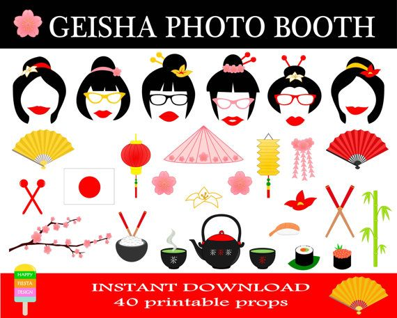 Geisha Photo Booth Props–40 Pieces-Printable Japan Photo Booth-Geisha Party Props-Printable Asia Photobooth Props-Instant Download