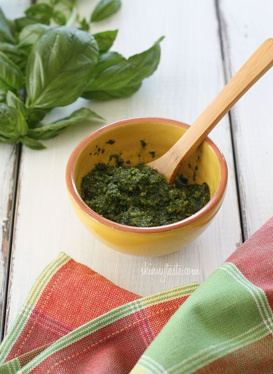 Skinny Basil Pesto   Skinnytaste LBS R&R*  Would use this recipe again.  I like that it doesn't use as much oil.  Great on chicken!