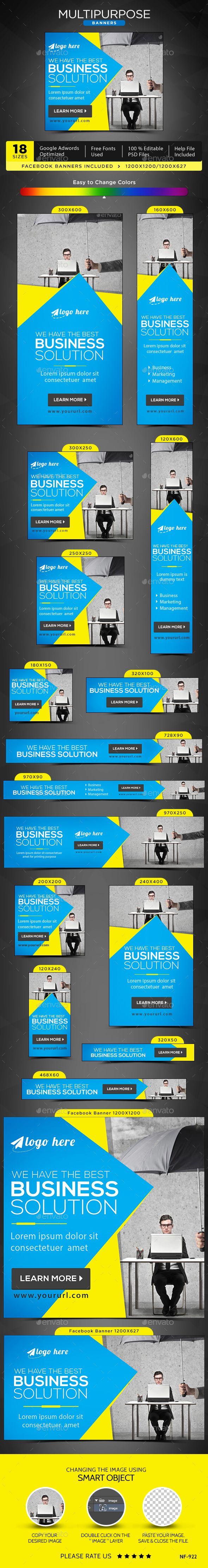 Multipurpose Web Banners Template PSD #design #ad Download: http://graphicriver.net/item/multipurpose-banners/14107093?ref=ksioks