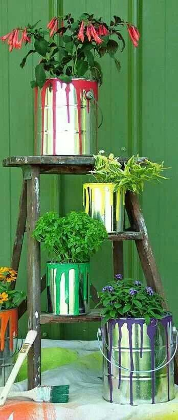 Paint pots... something like this would be cute for a herb garden on the apartment balcony :)