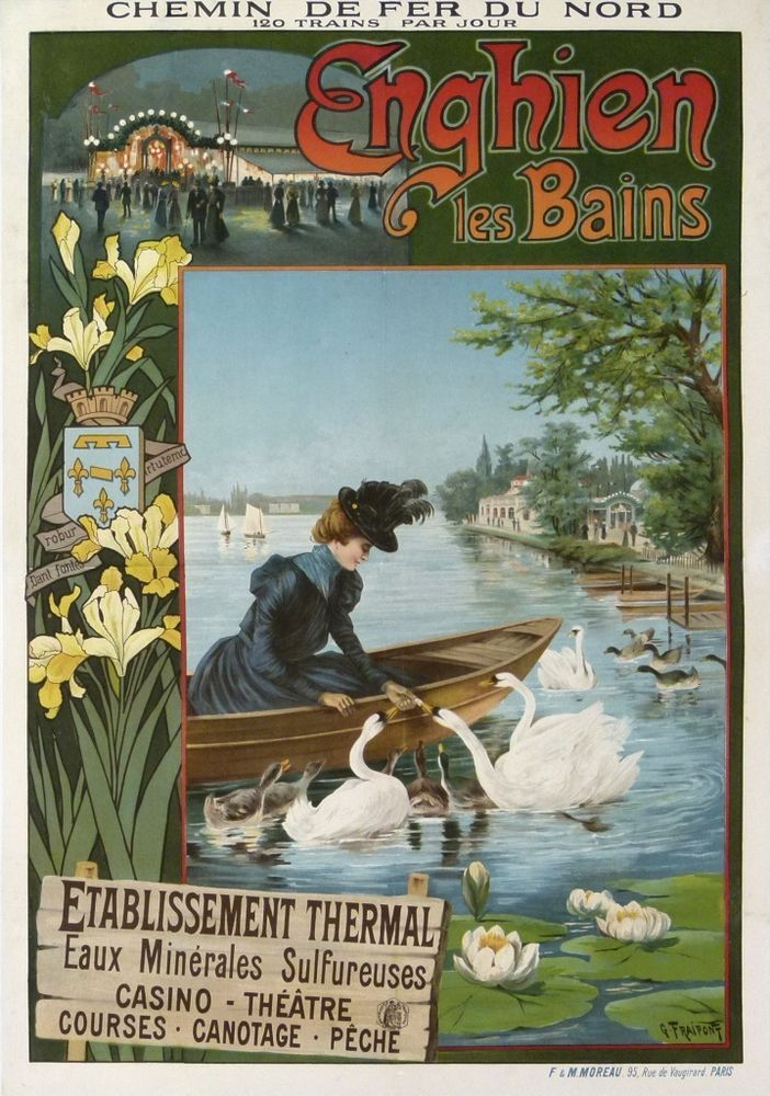 chemins de fer du nord - Enghien les Bains - 1895 - illustration de Gustave Fraipont - France -