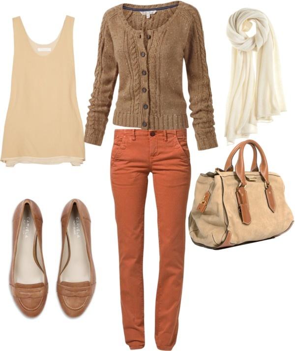 oranje/coral jeans combineren