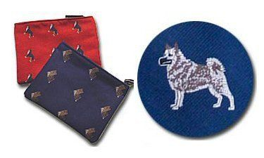 Norwegian Elkhound Cosmetic Bag (Dog Breed Make-up Case) by Clothiers. $27.95. Measures 7 inches by 5.5 inches. Zipper closure and lined in plastic-so spills wipe away with ease. Kennel Club Collection. Use for cosmetics, film, small cameras, and even goodies for the furry ones. Dogs woven into the cloth itself, a process called jacquarding, which makes for a more elegant and detailed depiction of the dogs than would be possible in printing or embroidery. Norwegian Elkhound Cosme...