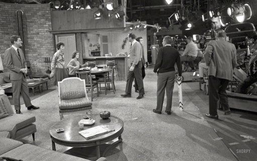 Dick Van Dyke, Ann Morgan Guilbert, Mary Tyler Moore and poor Jerry Paris, who had only two names, on the set of The Dick Van Dyke Show sometime in 1963. #dickvandyke #behindthescenes #classictv
