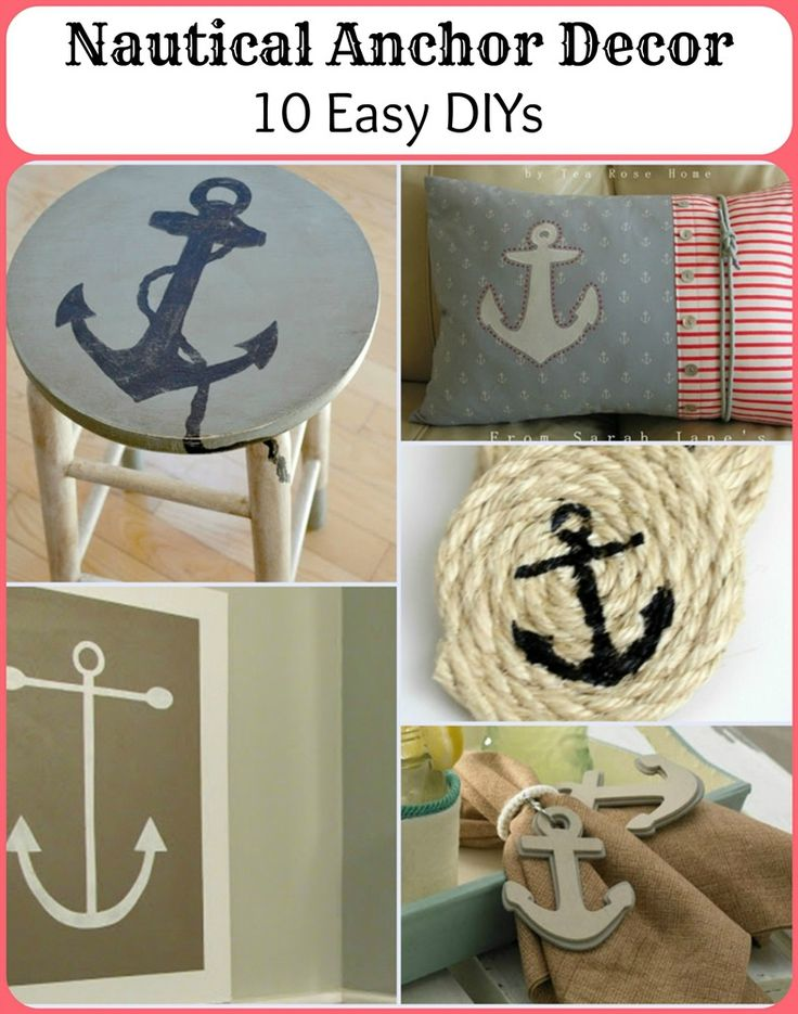 Nautical Anchor Decor: 10 Easy DIYs to make!!! Bebe'!!! Love Anchors for Coastal Cottages, Beach Houses or Nautical Homes!!!