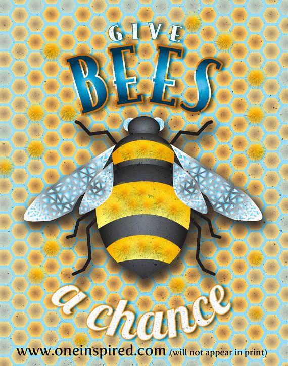 Give BEES A Chance, Typographic Print, Kitchen Decor, Organic Art, Farmeru0027s  Market