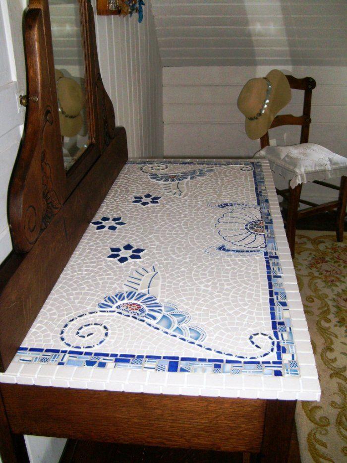 Image - Table de toilette Terminée - Mosaïque, Passionnément, à la Folie…