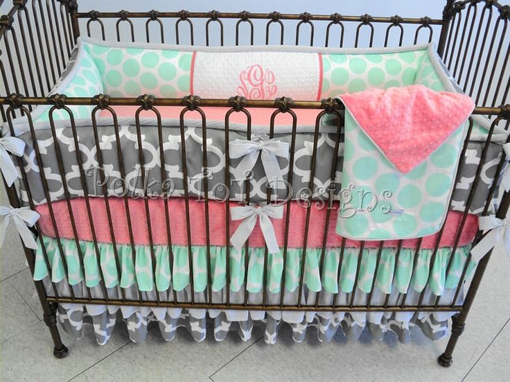Mint, Gray & Coral Baby Girl Bedding : Skye by PolkaToTBedding on Etsy https://www.etsy.com/listing/237654749/mint-gray-coral-baby-girl-bedding-skye