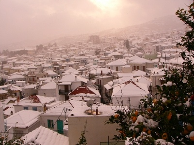 Skopelos village in snow