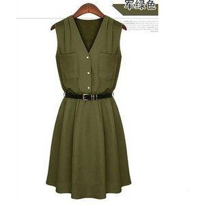 Elegante occidental Doble bolsillo Diseño con cuello en V Ejército Verde Vestido sin mangas (con tamaño M-XL)