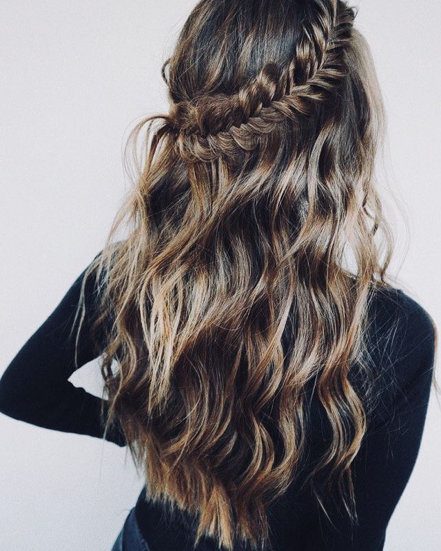 Half Up Braid Fishtail Braid Hairstyles Fishtail Hairstyles Hair Styles
