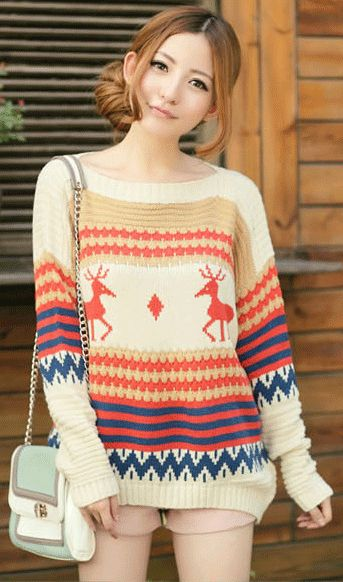 Christmas deer thick knitted pullover sweater beige