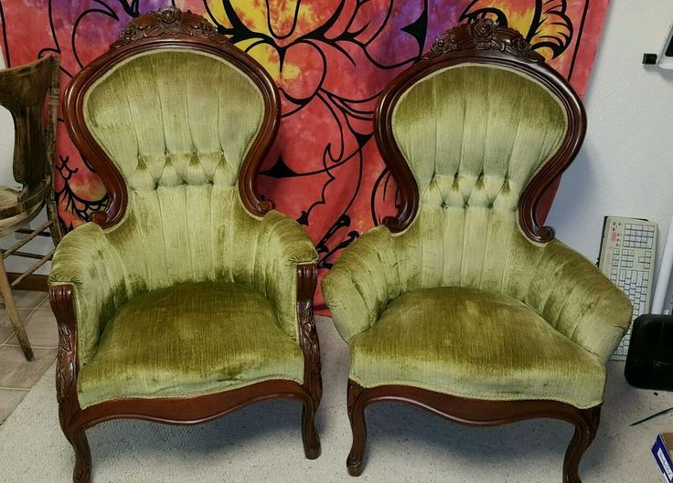 Antique Victorian Rose Carved Tufted Fireside Lounge Club Chairs his and  hers - 26 Best Seating Images On Pinterest Antique, Balloons And Chairs