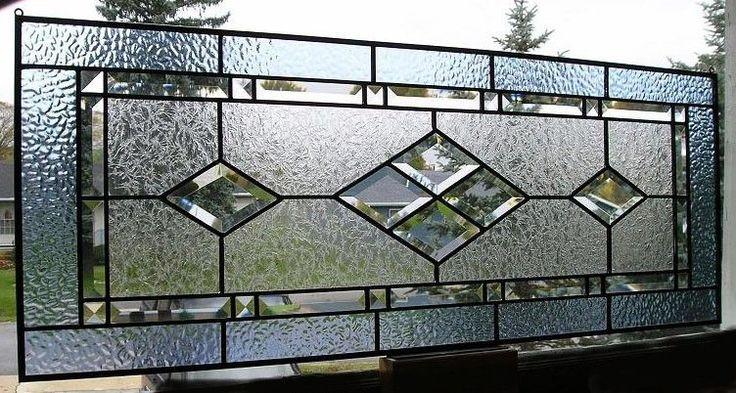 Pale Blue  Clear Beveled Diamond Stained Glass Window Transom  Custom Sizes OK