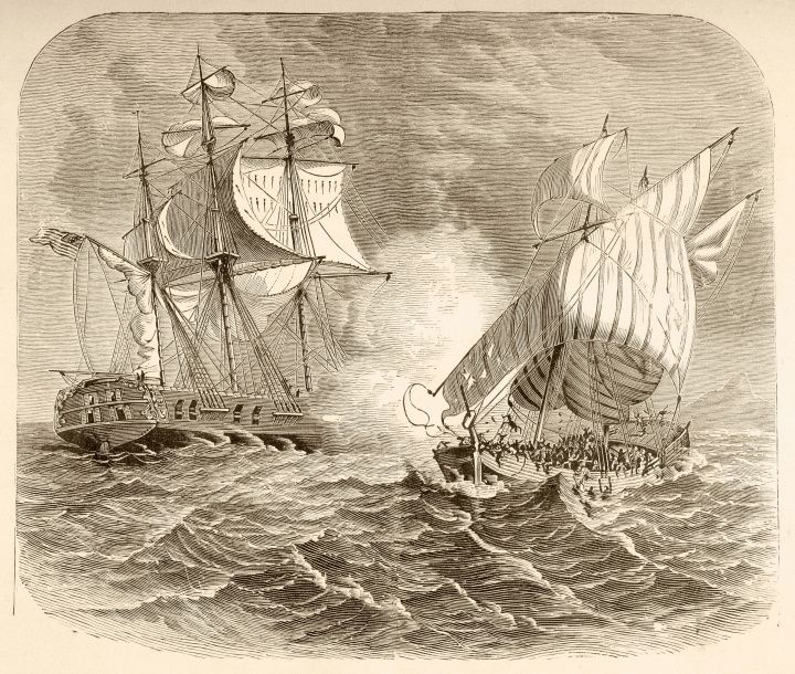 25 Moments - Barbary Wars  An American Navy ship captures an Algerian pirate ship off the Barbary Coast during the First Barbary War 1801 to 1805.