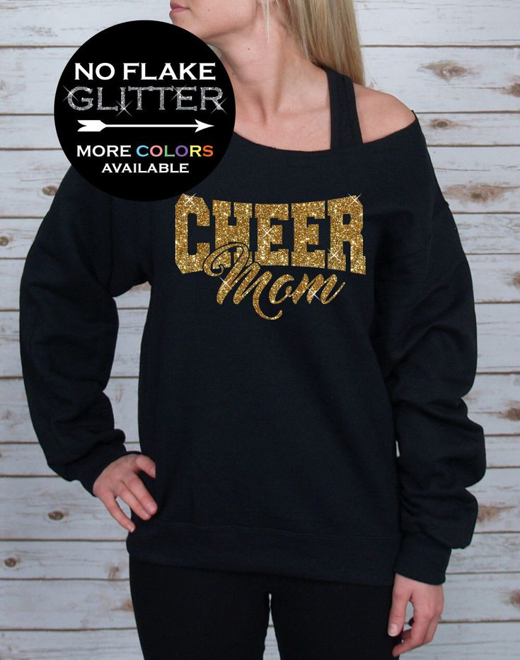 Cheer Mom Off Shoulder Raw Edge Sweatshirt for Women GLITTER, Mom Sweatshirt, Cheer Shirt, Cheerleader, Plus Sizes (Gold Glitter) by BellaDesignsOutdoor on Etsy https://www.etsy.com/listing/462749901/cheer-mom-off-shoulder-raw-edge