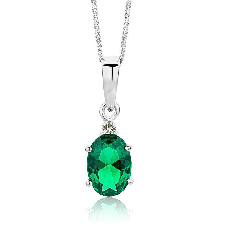 Miore 9 ct White Gold Diamond and Created Pendant Necklace on 45 cm Chain