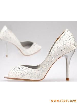 Summer Ivory Or Black 8.5 Cm High Heels Peep Toes Beaded ...