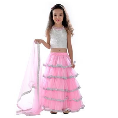 Buy New Arriva Pink Net Kids Baby Girl Lehenga Choli(28 inches) -semi-Stitched by Unique Fashion, on Paytm, Price: Rs.999?utm_medium=pintrest