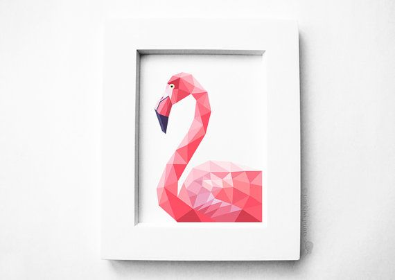 Pink Flamingo, geometrische druk, Vogel kunst, vogel druk, Originele illustratie, Nursery kunst aan de muur