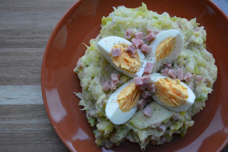 Preipuree met ham en ei, goed voor 11 SmartPoints bij Weight Watchers.