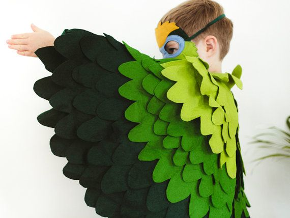 Green Parrot Costume, Parakeet Halloween Bird Costume for Toddlers and Young Kids. Bird Costume for Girls and Boys