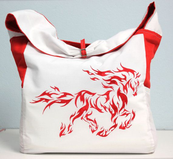 white bag with a red pattern a large bag comfortable от ThaiBee