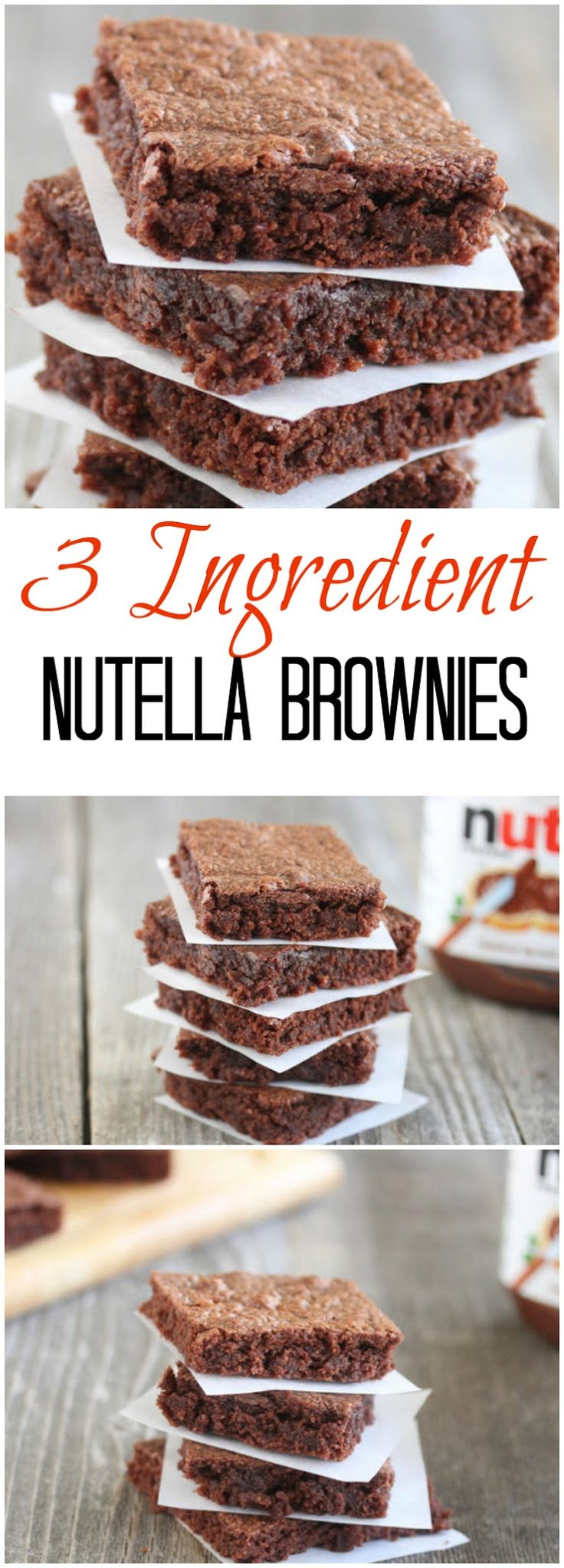 3 Ingredient Nutella brownies. These fudgy and chewy brownies are so easy to make!