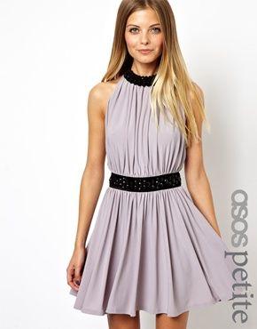 ASOS PETITE Exclusive Necklace Embellished Skater Dress