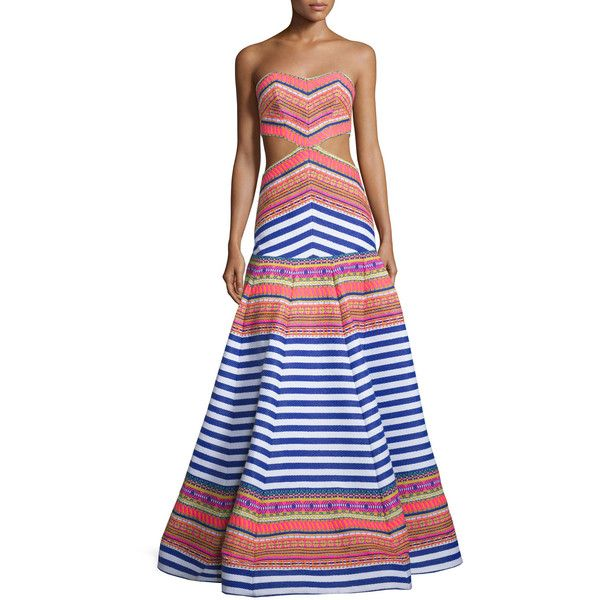 Alexis Zuzu Strapless Striped Maxi Dress ($2,080) ❤ liked on Polyvore featuring dresses, aztec neon, aztec maxi dress, stripe dresses, striped maxi dress, a-line dresses and sweetheart maxi dress