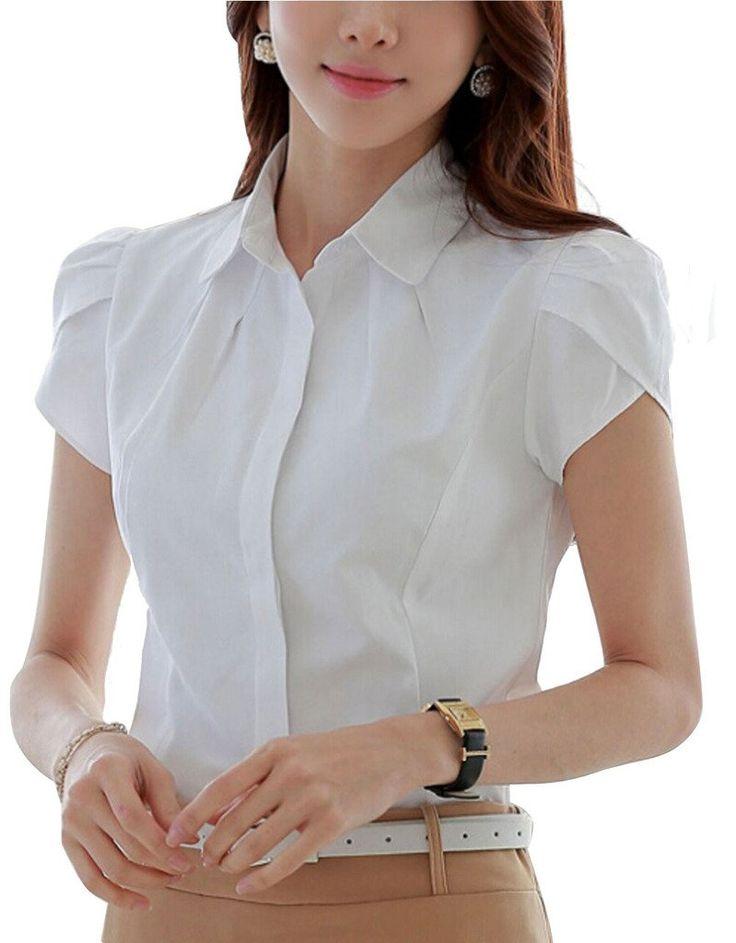 DPO Lady's Slim Cotton V-Neck Office Formal Work Shirt Short Short Sleeve Blouse