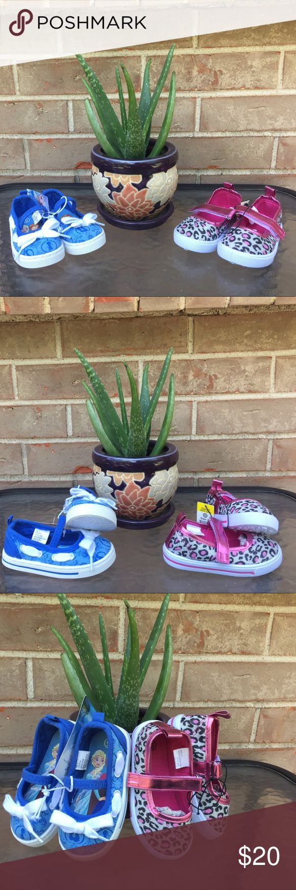 Girls blue frozen/pink cheetah shoes size 5 2 pairs of girls shoes size 5. NWT no defects. Make an offer. Shoes Sneakers