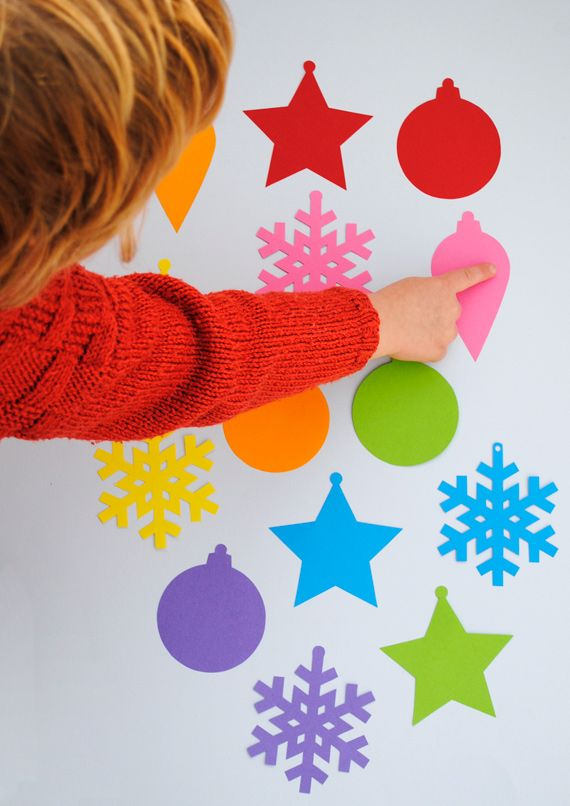 Simple Christmas tree decorations for kids + templates