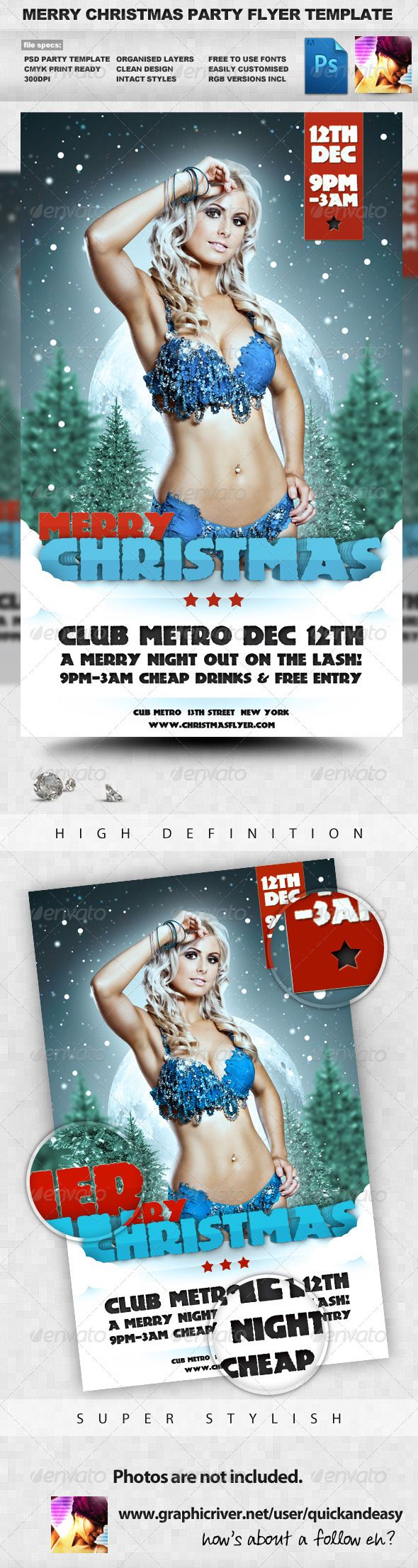 Merry Christmas  Winter A5 PSD Flyer Template — Photoshop PSD #flyer #psd • Available here → https://graphicriver.net/item/merry-christmas-winter-a5-psd-flyer-template/546366?ref=pxcr