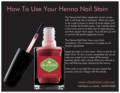 Henna Nail Stains - www.ohsohalal.com.au Wudu Friendly Halal Approved