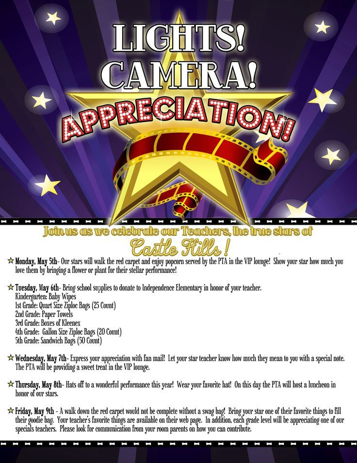 hollywood theme teacher appreciation signs - Google Search