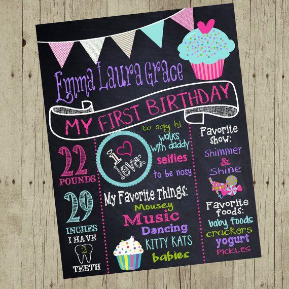 Cupcake birthday sign sweet chalkboard by MichelleRayeDesigns