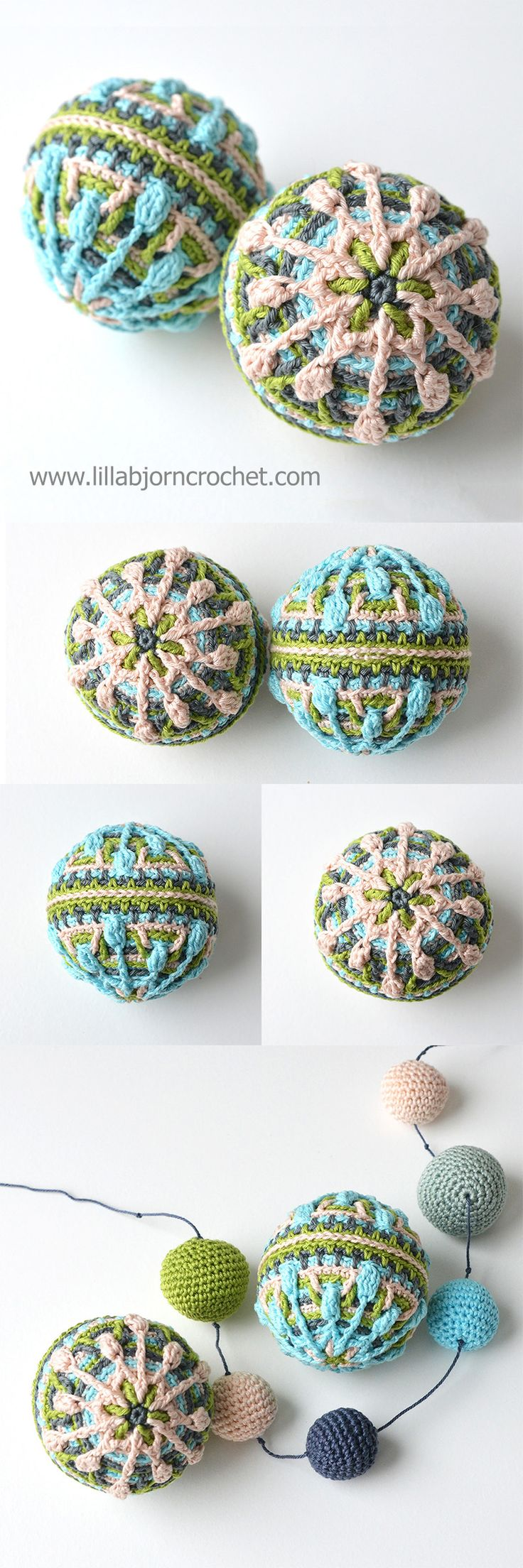 These snow crocheted baubles (in #overlay #crochet) will make a perfect Christmas decoration, hanging decorations for a nursery, and even pet toys! Pattern by Lilla Bjorn Crochet