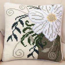 "CORNER FLOWER Chunky Cross Stitch Cushion Front Kit 16"" x 16"""